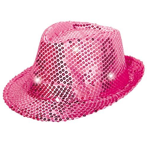 Folat 24073 Tribly Party Hut mit Pailletten und LED Beleuchtung, Unisex-Erwachsene, rosa, Einheitsgröße