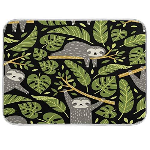Lindos perezosos y hojas tropicales de palma en color negro, tapete de secado de platos de 45,7 x 60,9 cm, escurridor de platos, protector para encimeras de cocina
