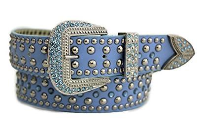 TFJ Women Western Fashion Belt Big Beads Metal Buckle Rhinestones M L Light Blue