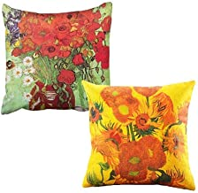 YOUKOOD Designer Decorative Throw Pillow Covers 18 X 18 Inch Cotton Linen Throw Pillow Case for Sofa, Studio, Office, Chair, Living Room, Party Pillowcases Gift 2 Pack (Sunflower)