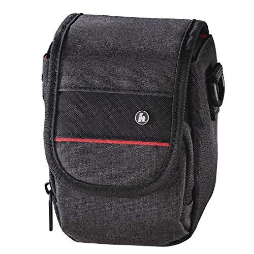 """Hama Kameratasche """"Valletta"""" für Digitalkamera (Fototasche klein für Kompaktkamera, mit Gürtelschlaufe und Zubehörfach, Umhängetasche, reißfestes Polyester, 9 x 8 x 13 cm) schwarz"""