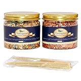 KINNO Copos dorados variados de hojas de oro – 2 frascos con colores mezclados para proyectos de oro, pintura, arte de uñas y decoraciones, en total 10 gramos