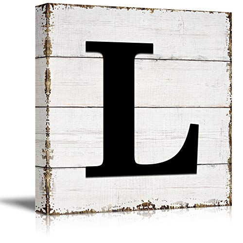 wall26 Canvas Wall Art English Letter Wood Background Home Wall Decorations for Bedroom Living Room Paintings Canvas Prints Framed - 12x12 inches