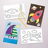 Baker Ross- Dibujos de Medios de Transporte para Decorar con Arena y exhibir (Pack de 8) - Actividad de Manualidades Infantiles