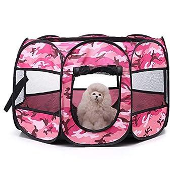 Tineer Portable Pet Cat Cage pour Chien Niche Chenil Tente Lit Parc d'enfant Camping de Plein air Pliable Maison de Caisse de Chien de Voyage Playpen (S:72×72×45cm, Rose Camouflage)