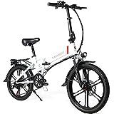 SAMEBIKE 20 Zoll Elektrofahrrad E-Bike, Klappbares Citybike Herren Damen 350W 48V 10.4AH, Elektrische Fahrräder mit LCD Display & Vorder und Rückfahrradbeleuchtung(Mobiler Halter mit USB)