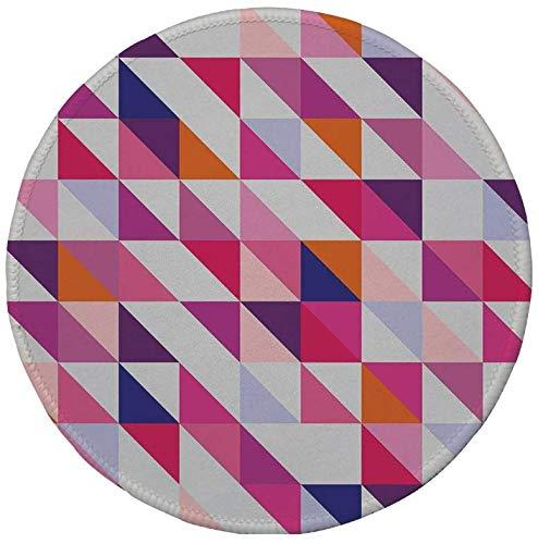 Rutschfreies Gummi-Rundmaus-Pad Navy und Rouge geometrisches Mosaik-Design Hipster Bunte Dreiecke...