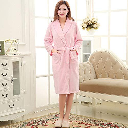 SDCVRE Accappatoio invernale,Men Women Luxury Winter Bathrobe Mens Warm Silk Flannel Long Kimono Bath Robe Male Bathrobes Lovers Night Dressing Gown,Women pink,M