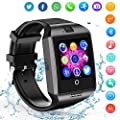 Smart Watch Android Phones - Bluetooth Watch Cell Phone Audio Image Camera - SIM Card Slot Smartwatch Touchscreen Men Women (Black_)