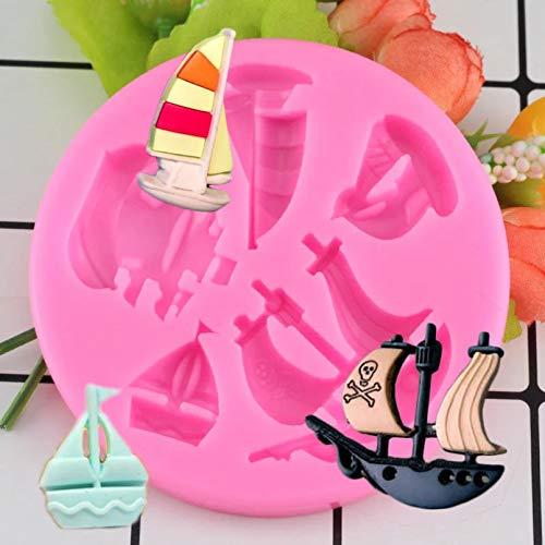 MENGYUE Silikonform Kuchenform Baby Party 3D Piratenschiff Silikonform Ozean Segelboot Boot Fondant Kuchen Dekorationswerkzeuge Schokolade Gumpaste Candy Clay Formen