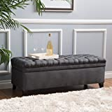 Sheffield Tufted Fabric Gray Storage Ottoman