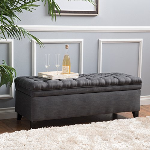 Christopher Knight Home 296933  Living Sheffield Tufted Fabric Gray Storage Ottoman
