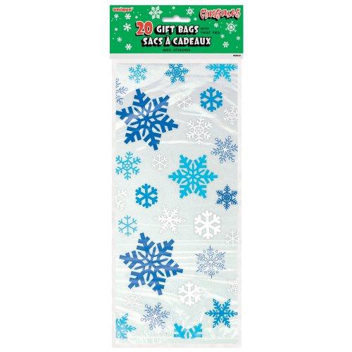 Unique Party - Bolsas de Fiesta de Navidad de Copo de Nieve de Celofán - Color Blanca y Azul - Paquete de 20 (62042)