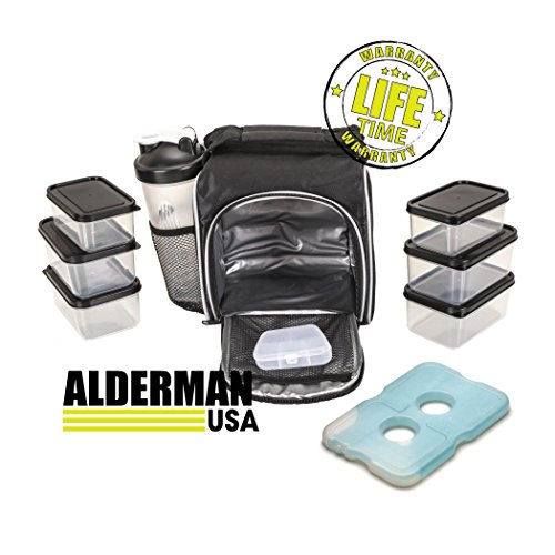 Alderman USA Meal Prep Bag and Container Set with Shaker Cup, 6 Leakproof Portion Control Containers, Ice Pack and Vitamin Box