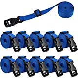 XTACER 1-Inch Molle Backpack Accessory Strap Luggage Straps Cover Strap Sleeping Bag Strap with Buckle (Pack of 10) (Blue)