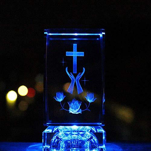 Catholique gravé au laser 3D Jésus Crucifix Croix en verre de cristal cube religieux de voiture décoration de table