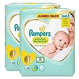 Pampers nouveau-né couches Taille 1 Premium Protection Giant Value Pack de 2 x 72 = 144 conçu spécialement pour votre Peau délicate de bébé