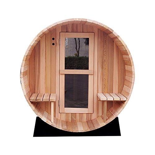 RGX 4-6 Persons Traditional Hemlock Wooden Barrel Sauna Made with Harvia Sauna Electrical Heater and Sauna Stove