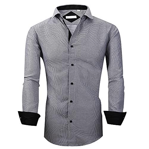 WARHORSEE Mens Dress Shirts Long Sleeve Regular Fit Printed Shirt Button Down (grey942,S)