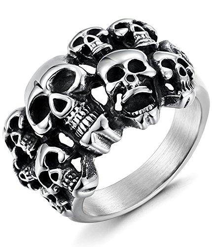 sailimue Edelstahl Ringe für Herren Damen Totenkopf Schädel Ringe Teufel Größe67(21.3)
