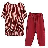 Ensemble de 2 pièces pour femme - Haut à rayures et pantalon décontracté - Haut rouge et pantalon rouge - Taille XL