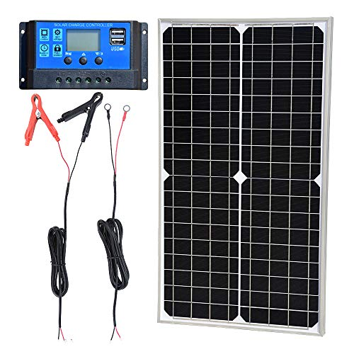TP-solar Solar Panel Kit 30W 12V Monocrystalline Battery Charger Maintainer with 10A Charge Controller + Extension Cable for 12 Volt Car RV Vehicle Marine Boat Home Off Grid System