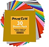 Permanent Adhesive Backed Vinyl Sheets by PrimeCuts USA - 30 Vinyl Sheets 12' x 12' - 30 Assorted Color Sheets for Cricut, Silhouette Cameo, and Other Craft Cutters