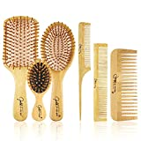 BestFire 6 in 1 Hair Brush Comb for Men Women Handle Bamboo Bristle Hairbrush Set with Tail Comb, Tooth Comb, Double Head Comb, 3 Different Air Cushion Massage Brush for Massaging Scalp