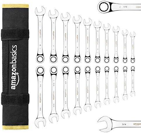 Amazon Basics Ratcheting Wrench Set - SAE, 7-Piece