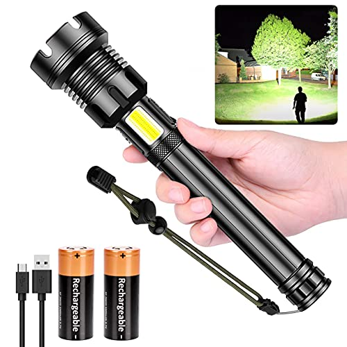 Rechargeable LED Flashlight High Lumens, 90000 Lumen Brightest Tactical Flashlight with 10000mAh Battery, Side Worklight, 7Modes Zoomable High-Power Flashlight&USB Rechargeable for Camping Emergency
