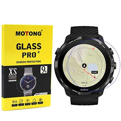 MOTONG for Suunto 7 Screen Protector - Tempered Glass Screen Protectors for Suunto 7 Watch,9 H Hardness,0.3mm Thickness,Made from Real Glass