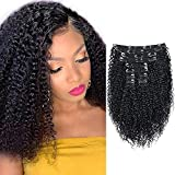 Kinky Curly Clip In Hair Extensions for Black Women 3C 4A Virgin Double Lace Weft Curly Hair Extensions Clip in Human Hair 10Pcs 120g 1B Natural black color (Kinky Curly 12inch)