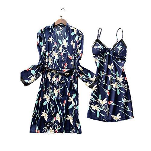 Laura Lily - Pijamas Mujer de Satén Sedoso con Encaje Bordado y Estampado Floral Conjunto de 2 Piezas (Azul Marino, M-L)