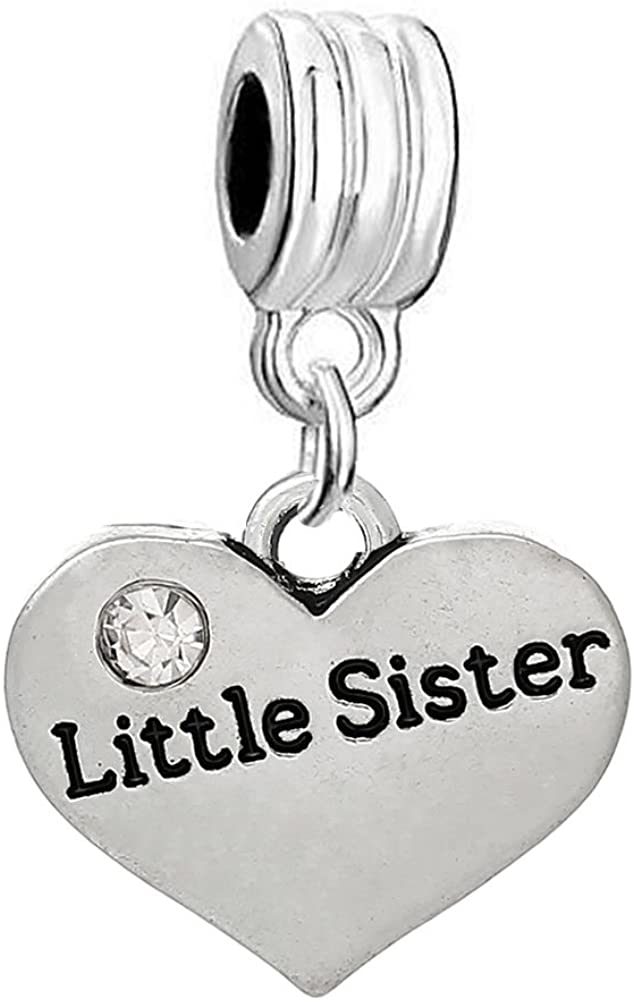 Sexy Sparkles Little Now on sale Great interest Sister Two with Clear Rhi Sided Heart