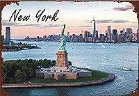 ニューヨークの像 メタルポスター壁画ショップ看板ショップ看板表示板金属板ブリキ看板情報防水装飾レストラン日本食料品店カフェ旅行用品誕生日新年クリスマスパーティーギフト