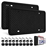 Aujen Silicone License Plate Frames,2 Pack Black Side-Opening License Bracket Holder with Easy Installation, License Plate Cover Without Obstruction.Rustproof, Rattle Proof & Weatherproof Universal