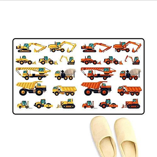 LIS HOME Badematte Satz von Baumaschinen und Geräten Transport Karriere Mechaniker Bodenmatte Muster Multicolor