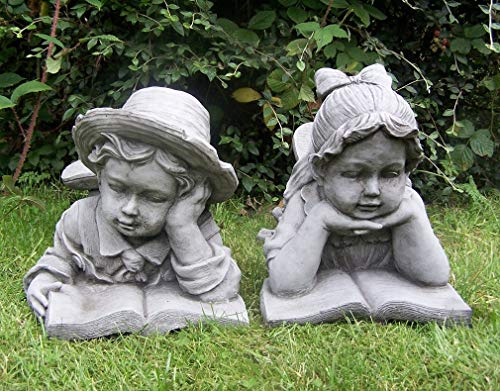 Garden Mile Set Of 2 Large Stone Effect Resin Children Ornaments Garden Statues Boy & Girl Lawn Sculptures Laying Down Reading Free Standing Hand Crafted Garden Decorations Statues Antique Vintage