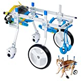 HobeyHove Adjustable 4-Wheel Dog Cart/Wheelchair, for Pet/Doggie Wheelchairs with Disabled Hind Legs Walking(7-Size)(S)