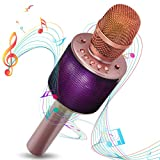 Micrófono Karaoke Bluetooth Inalambrico con Modo Dueto Luces Led 7 colores Para Fiestas Microfonos infantiles para niños niñas (Rosa)