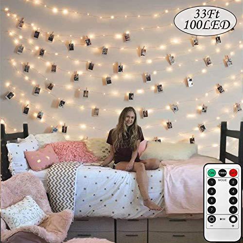 Photo Clip String Lights 33Ft - String Lights with Clips, 100LED Fairy String Lights with 50 Clear Clips, USB Powered 8 Mode LED String Lights with Remote Control, Best for Wedding, Bedroom Decoration