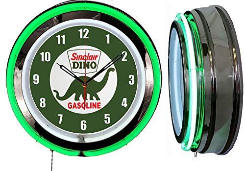 Checkingtime LLC 19  Sinclair Dino Neon Clock, Two Neon Tubes, Green Outside Tube
