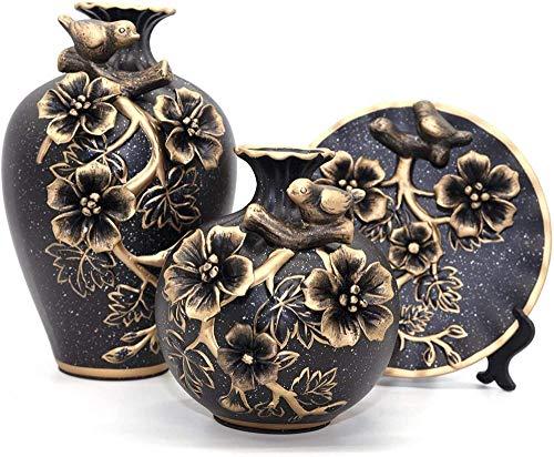 Xicaimen Jarrón de cerámica Decorativo clásico con 3 jarrones Chinos para decoración del hogarcondecoración deFlores en 3D (Negro)