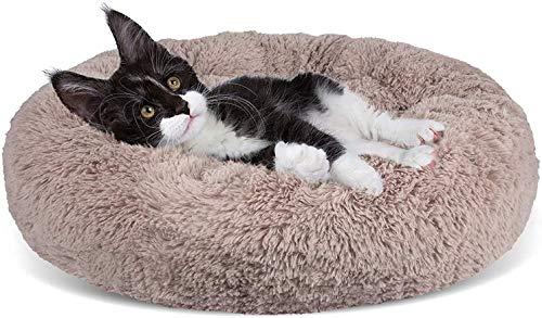 Wuudi Haustier Katzenbett Hundebett Katzenhöhle Katzenhaus Plüsch Donut Katzensofa Hundesofa, waschbar, rutschfest Geeignet für Katzen und Hunde 50cm (Khaki)