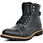 Bruno Marc Men's TORONTO-01 Black Faux Leather Military Combat Ankle Boots - 9 M US