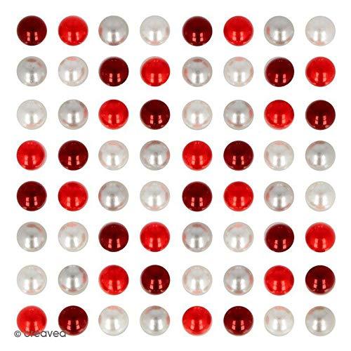 Demi-perles adhésives - Rouge et blanc - 64 pcs