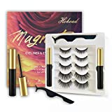 Hokoad Magnetic Eyelashes with Eyeliner Kit,5 Pairs Reusable Magnetic False Lashes and Liner Natural Look with Applicator,No Glue Needed