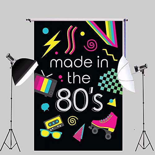 5X7ft 80s Party Backdrop Made in The 80's Theme Retro Style Photo Backdrop 80's Birthday Background Hip Hop Party Photobooth Props W-1513