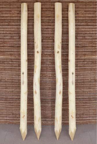 Zaunpfosten Akazie 180 cm / 25 Stück - Holzpfosten für Staketenzäune - Runde Robinien Holzpfosten Natur Pfahl entrindet