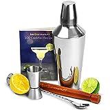 bar@drinkstuff Cocktail-Shaker, Coktail-Set für Anfänger mit Rezeptbuch für 150 Drinks, Manhattan Cocktail-Shaker mit integriertem Sieb, Barmaß, Holzstößel und gedrehtem Mixlöffel